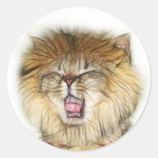 Roaring lion kitten round stickers