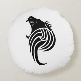 roaring lion round pillow
