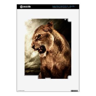 Roaring lioness against stormy sky iPad 3 decals