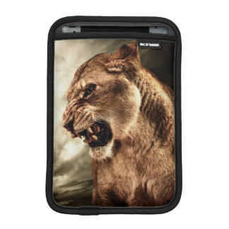 Roaring lioness against stormy sky sleeve for iPad mini