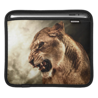 Roaring lioness against stormy sky sleeve for iPads