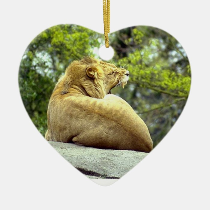 Roaring Lioness on Rock Ceramic Ornament