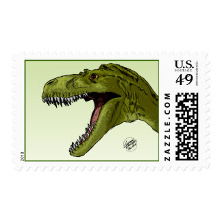 Roaring T-Rex Dinosaur by Geraldo Borges Postage Stamp