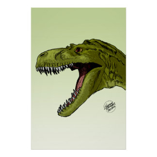 Roaring T-Rex Dinosaur by Geraldo Borges Poster