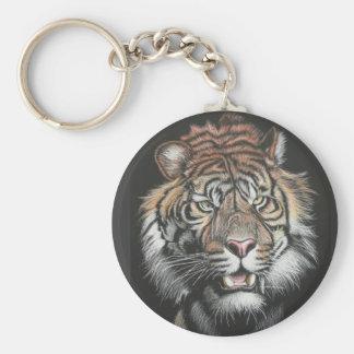 Roaring Tiger in Scratch Board Keychain