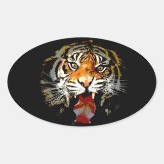 Roaring Tiger Oval Sticker