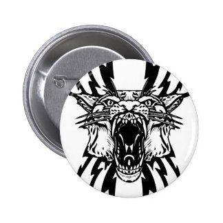 Roaring tiger tattoo pinback button