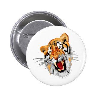 Roaring tiger with snarling sharp teeth pins