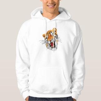 Roaring tiger with snarling sharp teeth hoodies