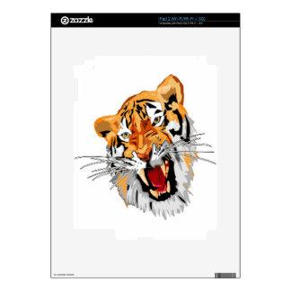 Roaring tiger with snarling sharp teeth iPad 2 decals