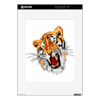 Roaring tiger with snarling sharp teeth iPad skins