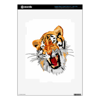 Roaring tiger with snarling sharp teeth skin for iPad 3