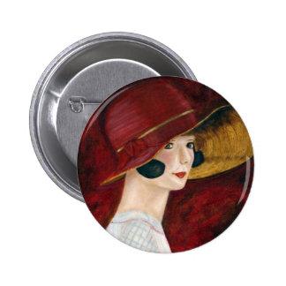 Roaring Twenties 1920s Flapper Girl in Red Hat 2 Inch Round Button