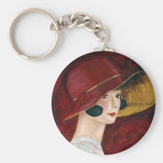 Roaring Twenties 1920s Flapper Girl in Red Hat Basic Round Button Keychain