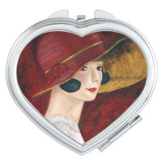 Roaring Twenties 1920s Flapper Girl in Red Hat Makeup Mirror