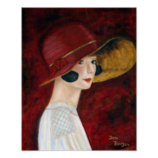 Roaring Twenties 1920s Flapper Girl in Red Hat Poster
