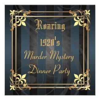 Roaring Twenties Art Deco Black Party Invitation