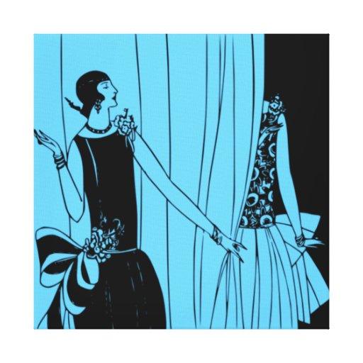 Roaring Twenties Art Deco Wrapped Canvas (blue 2) Canvas Print