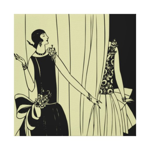 Roaring Twenties Art Deco Wrapped Canvas (celadon) Stretched Canvas Print