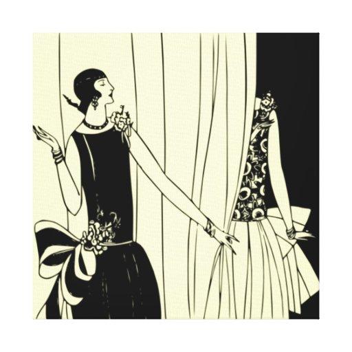 Roaring Twenties Art Deco Wrapped Canvas (lemon) Canvas Print