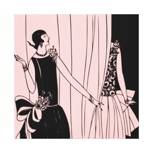 Roaring Twenties Art Deco Wrapped Canvas - pink Stretched Canvas Prints
