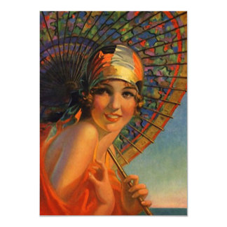 "Roaring Twenties Cloche Parasol Flapper Invitation 4.5"" X 6.25"" Invitation Card"