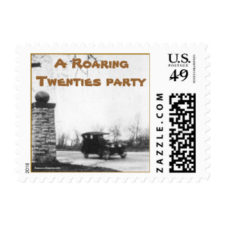 Roaring Twenties costume party invitation Stamp