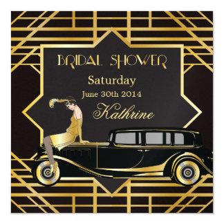 Roaring Twenties Gatsby Style Bridal Shower 5.25x5.25 Square Paper Invitation Card