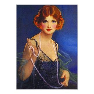 Roaring Twenties Midnight Blue Flapper Invitation