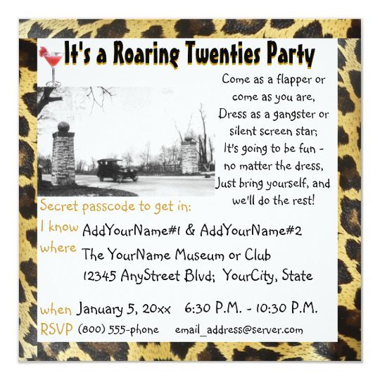 Roaring Twenties Party Flapper Leopard Card