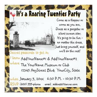 Roaring Twenties Party Flapper Leopard 5.25x5.25 Square Paper Invitation Card