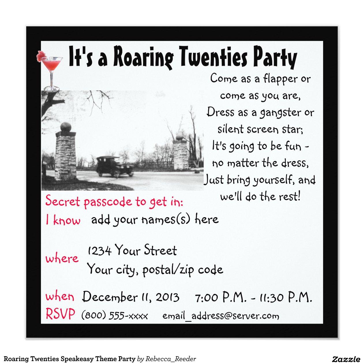 Speakeasy Party Invitation Wording | southernsoulblog.com