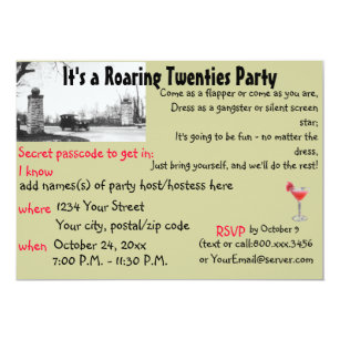 Roaring Twenties Speakeasy Theme Party Invitation