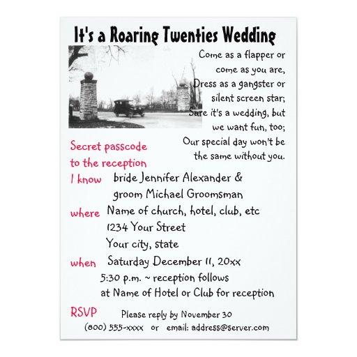 "Roaring Twenties Theme Wedding 5.5"" X 7.5"" Invitation Card"