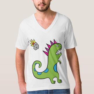 Roary the T-Rex - American Apparel V-neck T-Shirt