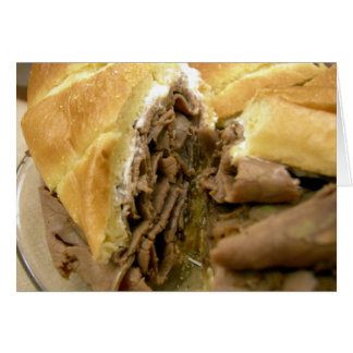 Roast beef sandwich with creamy goat cheese greeting card