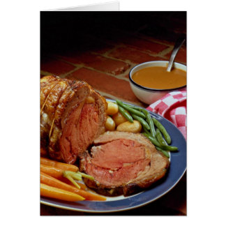 Roast beef with carrots greeting card