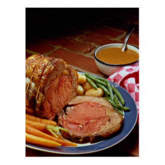 Roast beef with carrots postcard