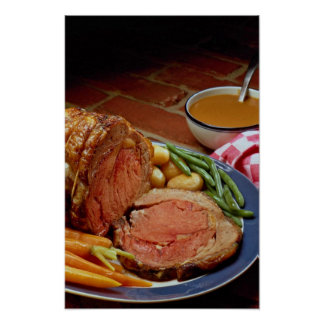 Roast beef with carrots poster
