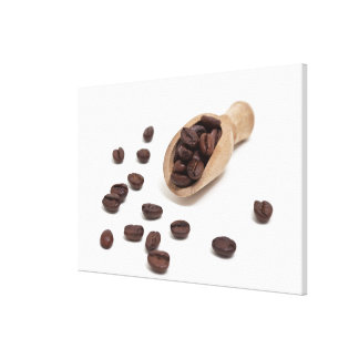 roast coffee beans with scoop canvas print
