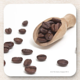 roast coffee beans with scoop beverage coaster