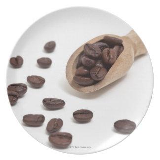 roast coffee beans with scoop dinner plate