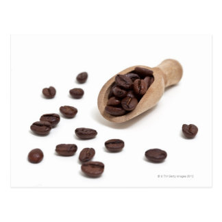 roast coffee beans with scoop postcard