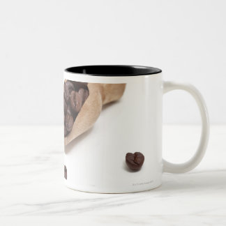 roast coffee beans with scoop Two-Tone coffee mug
