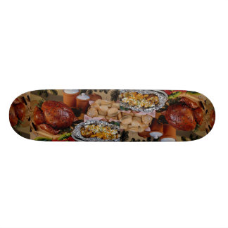 Roast turkey, seasoned potatoes skate deck