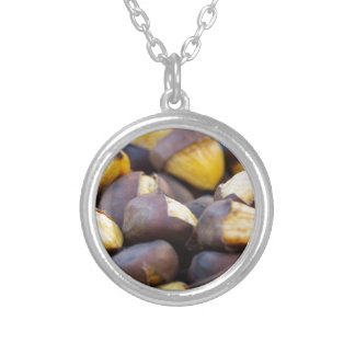roasted chestnuts round pendant necklace