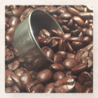 Roasted Coffee Beans Photograph Glass Coaster