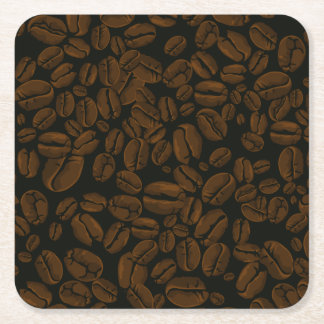 Roasted Coffee Beans Square Paper Coaster