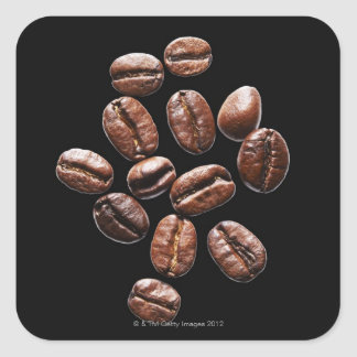 Roasted coffee beans square sticker