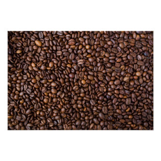 Roasted Coffee Beans Texture Structure Background Poster